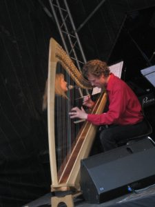 Julie & Gernot singing and harp Bingen Swingt International Jazz Festival